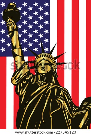 Vector statue of liberty and american flag - stock vector