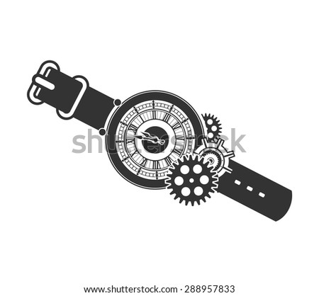 Vector Steam punk mechanical clock and rotating parts in a rectangular shape badge - stock vector