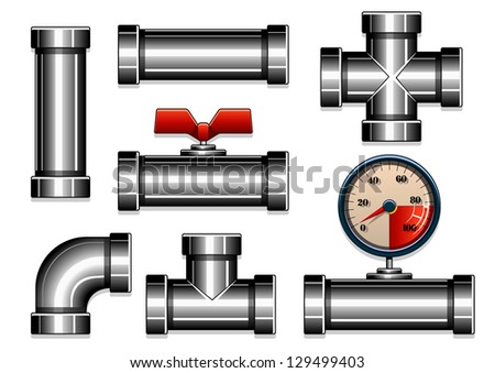 vector steel pipes collection - stock vector