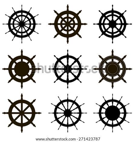 Vector steering wheel set isolated on white. Sea theme. - stock vector