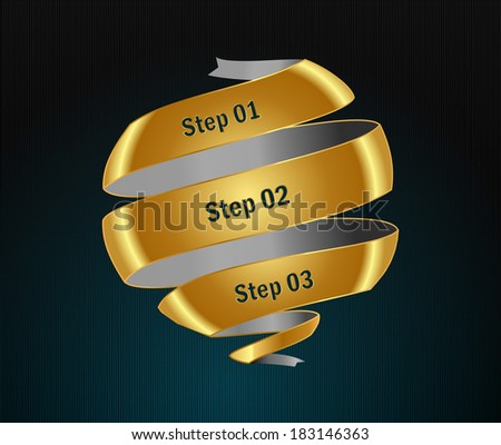 Vector step golden options banners and numbers design template for web site- Vector illustration. - stock vector