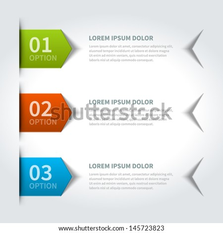 Vector step options banners and numbers design template for web site. Vector illustration.  - stock vector