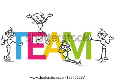 Vector stick man: Group of stick figures surrounding and presenting letters reading TEAM. - stock vector
