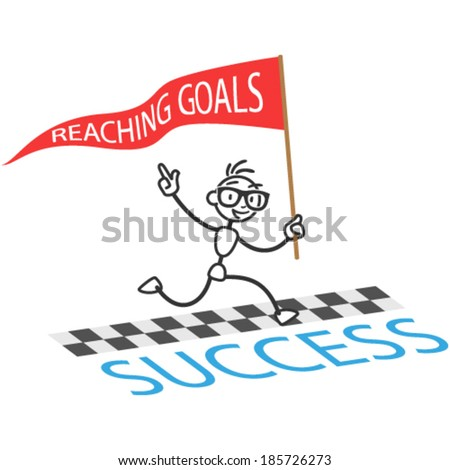 Vector stick man: Running stick figure with flag labeled Reaching Goals crossing finishing line - stock vector