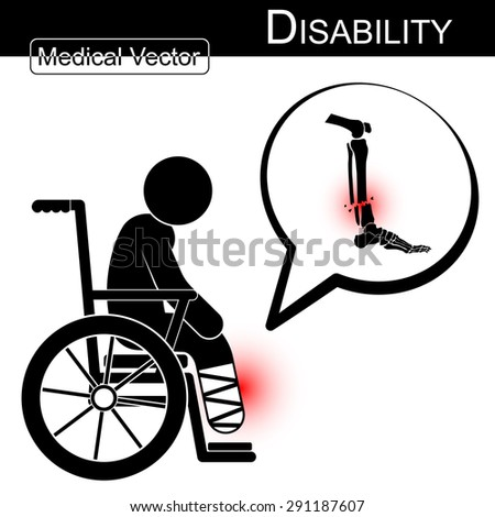 Vector Stick man with leg fracture on wheelchair and text bubble ( Disability , Physical Therapy concept ) ( Flat design ) ( Tibia and Fibular fracture ) - stock vector