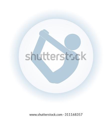 vector stick man yoga pose. Bow pose. - stock vector