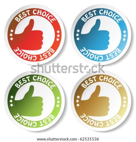 Vector sticker best choice - gesture hand - stock vector