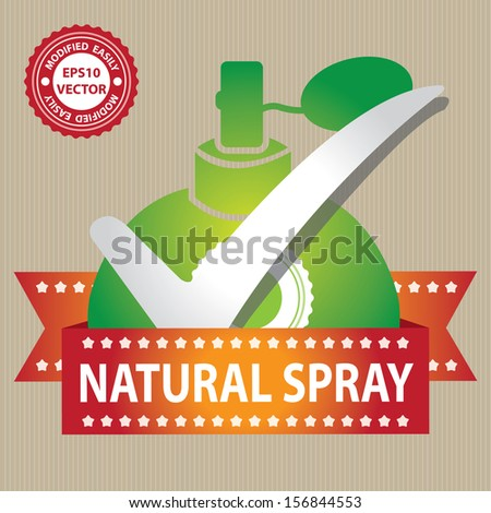 Vector : Sticker, Label or Badge For Product Information or Product Ingredient Present By Green Glossy Style Natural Spray Perfume Bottle Sign With Check Mark in Brown Background  - stock vector