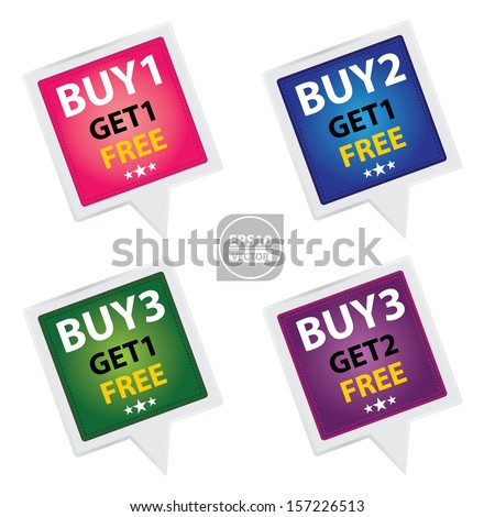 Vector : Sticker or Label For Marketing Campaign, Buy 1 Get 1 Free, Buy 2 Get 1 Free, Buy 3 Get 1 Free and Buy 3 Get 2 Free With Colorful Icon  - stock vector