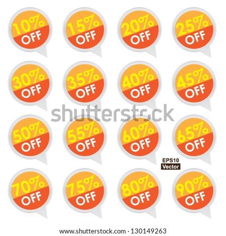 Vector : Sticker or Label For Marketing Campaign, 10-90% Off With Orange Icon Isolated on White Background - stock vector