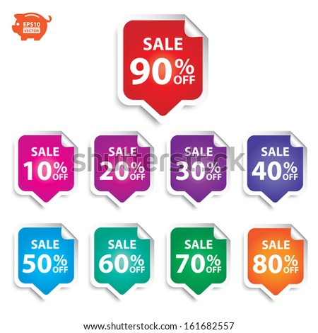 Vector: Sticker or sign, label sale up to 10 - 90 percent text with colorful. Eps10 - stock vector