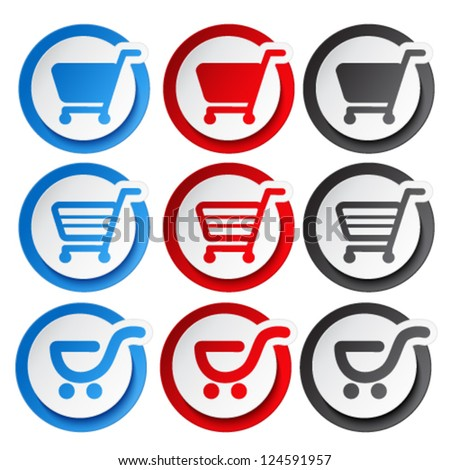 Vector sticker, shopping cart, trolley, item, button - stock vector