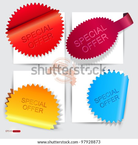 """Vector stickers and bookmarks """"Special Offer"""" - stock vector"""