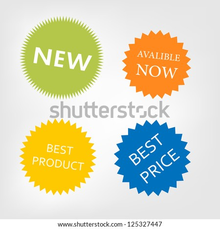 Vector stickers available now,new,best product,best price - stock vector