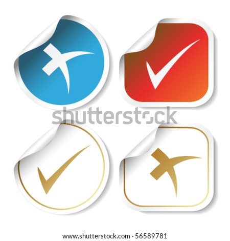 Vector stickers - check mark - stock vector