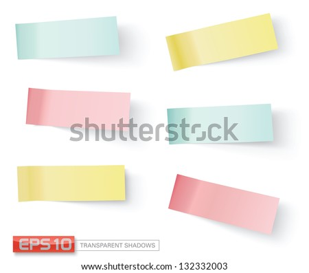 vector sticky notes, transparent shadows - stock vector
