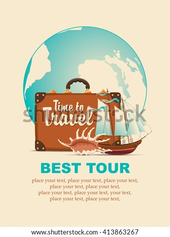Vector still life with a suitcase, sailboat and seashells on a tourist theme against the backdrop of the planet Earth - stock vector