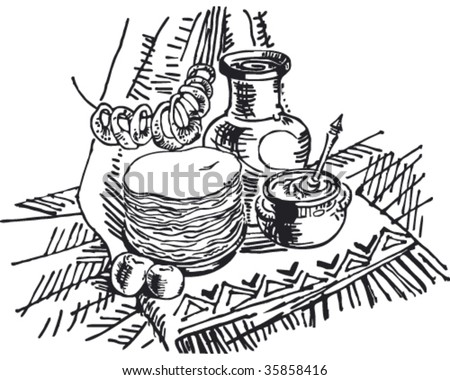 vector still life with pancakes - stock vector