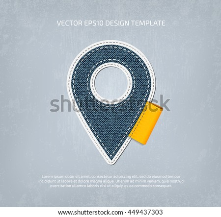 Vector stitched denim applique style map pin icon.  - stock vector