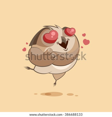 Vector Stock Illustration isolated Emoji character cartoon owl in love flying with hearts sticker emoticon for site, infographics, video, animation, websites, e-mails, newsletters, reports, comics - stock vector