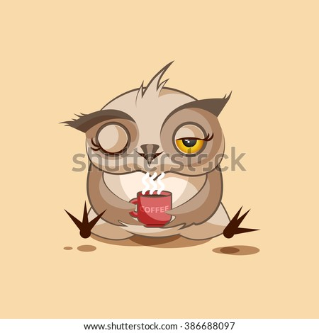 Vector Stock Illustration isolated Emoji character cartoon owl just woke up with cup of coffee sticker emoticon for site, infographic, video, animation, websites, e-mails, newsletters, reports, comics - stock vector