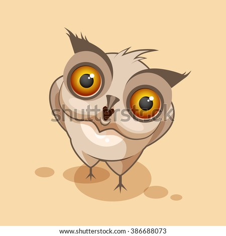 Vector Stock Illustration isolated Emoji character cartoon owl surprised with big eyes sticker emoticon for site, infographics, video, animation, websites, e-mails, newsletters, reports, comics - stock vector