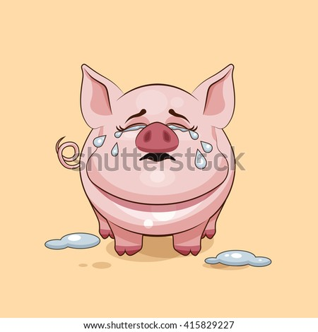 Vector Stock Illustration isolated Emoji character cartoon Pig crying, lot of tears sticker emoticon for site, infographics, video, animation, websites, e-mails, newsletters, reports, comics - stock vector