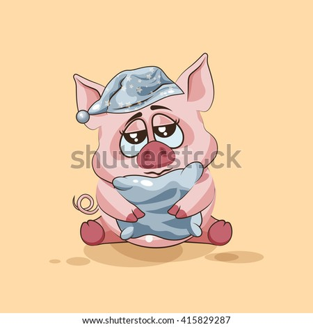 Vector Stock Illustration isolated Emoji character cartoon sleepy Pig in nightcap with pillow sticker emoticon for site, infographics, video, animation, websites, e-mails, newsletters, reports, comics - stock vector