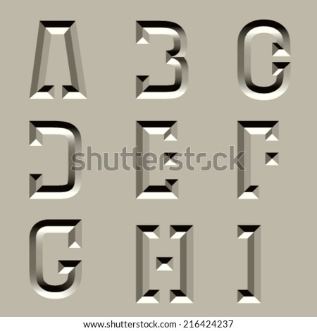 vector stone carved alphabet font - part 1 - stock vector