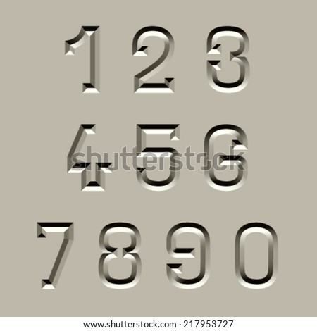 vector stone carved font numbers - stock vector