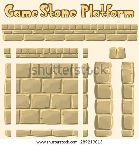 Vector stone platform for games - stock vector