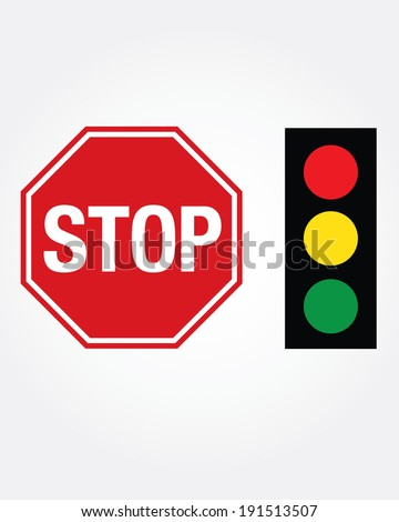 Vector Stop Sign and Stop Light Set  - stock vector