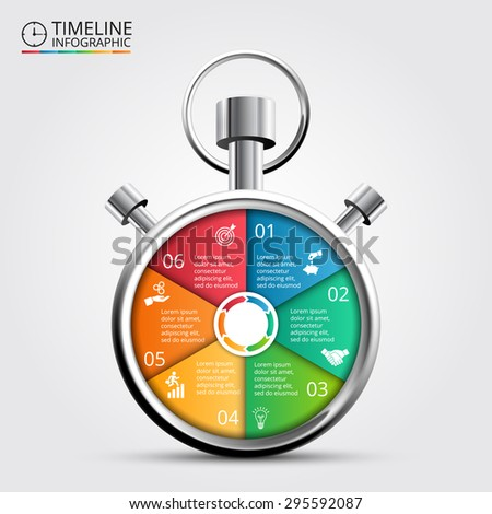 Vector stopwatch timeline infographic. Template for cycle diagram, graph, presentation and round chart. Business concept with 6 options, parts, steps or processes. Abstract background. - stock vector