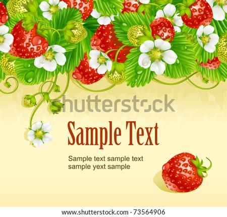 Vector strawberry frame 2. Red berry and white flower - stock vector