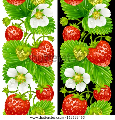 Vector strawberry seamless vertical pattern isolated on background - stock vector
