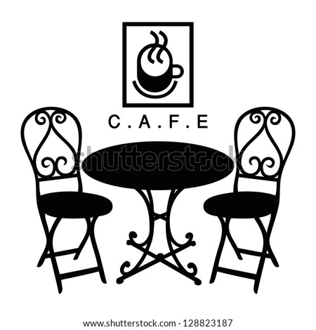 Vector street cafe, silhouette cafe sign - stock vector