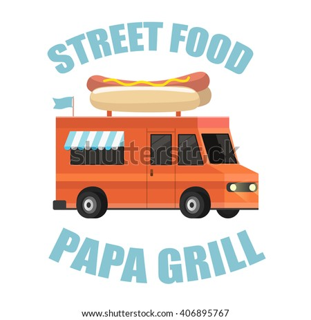 Vector street food truck in a flat style - stock vector