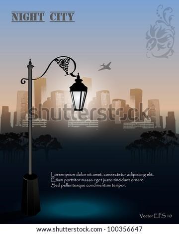 Vector Streetlight at Night - stock vector