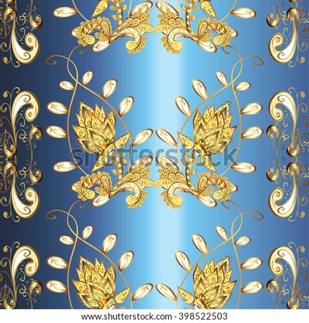 vector stripes gradient abstract golden doodles floral patter, dark blue stripe background - stock vector