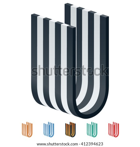 Vector stripped 3D alphabet. Optional different colors. Letter U - stock vector