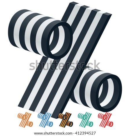 Vector stripped 3D alphabet. Optional different colors. Symbol 2 - stock vector