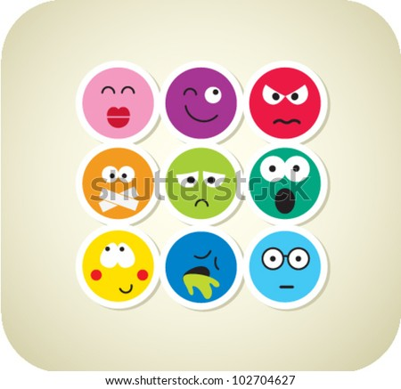 Vector style smile color face icons - stock vector