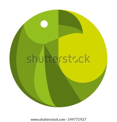 Vector Stylish Abstract Green Bird On Circle Icon - stock vector
