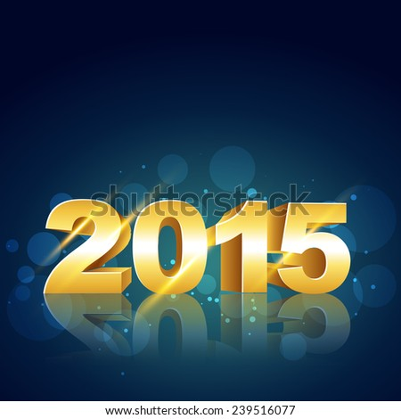 vector stylish background of new year 2015 in gold with circles at the back - stock vector