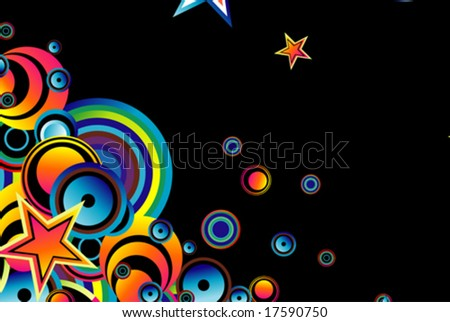 VECTOR Stylish bubbles and stars background - stock vector