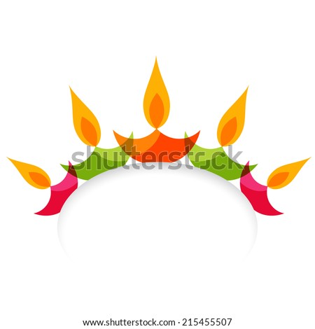 Vector stylish colorful diwali diya isolated on white background - stock vector
