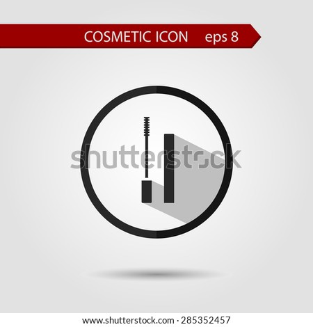 Vector stylish flat icon of mascara with long shadow effect of beauty and cosmetics. - stock vector