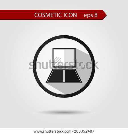 Vector stylish flat icon of shadow with long shadow effect of beauty and cosmetics. - stock vector