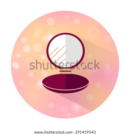 Vector stylish flat icon with long shadow effect of beauty and cosmetic on blurred background. Compact powder. - stock vector