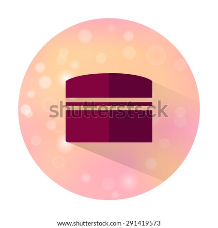 Vector stylish flat icon with long shadow effect of beauty and cosmetic on blurred background. Cream bottle. - stock vector